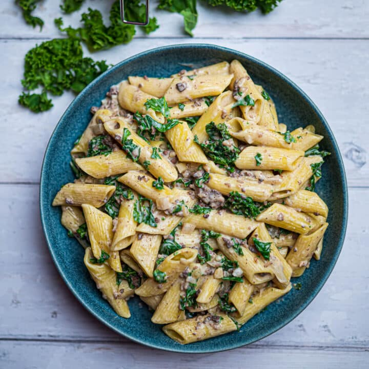 Photo of a bowl of pasta with haggis and kale with fresh kale on the side