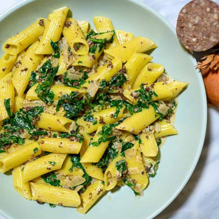 Creamy Pasta with Haggis and Kale
