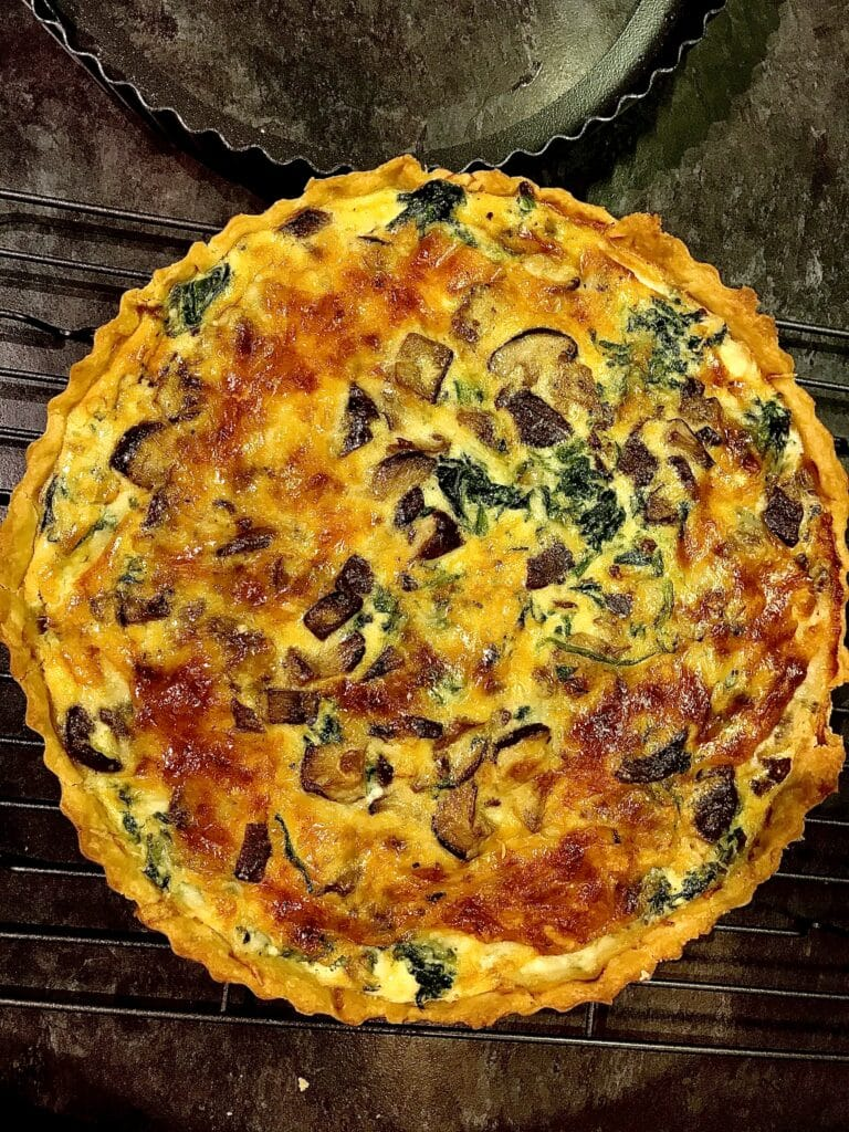 Spinach Mushroom Goat's Cheese Quiche