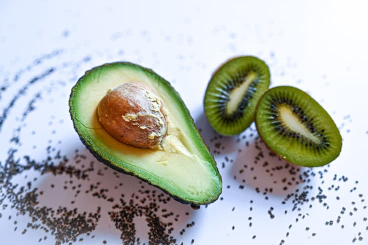 Avocado & Kiwi Smoothie with Lime and Chia Seeds