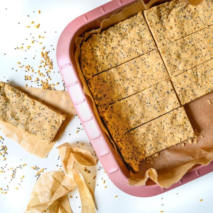 No Bake Peanut Butter Oatmeal Protein Bars {Vegan}