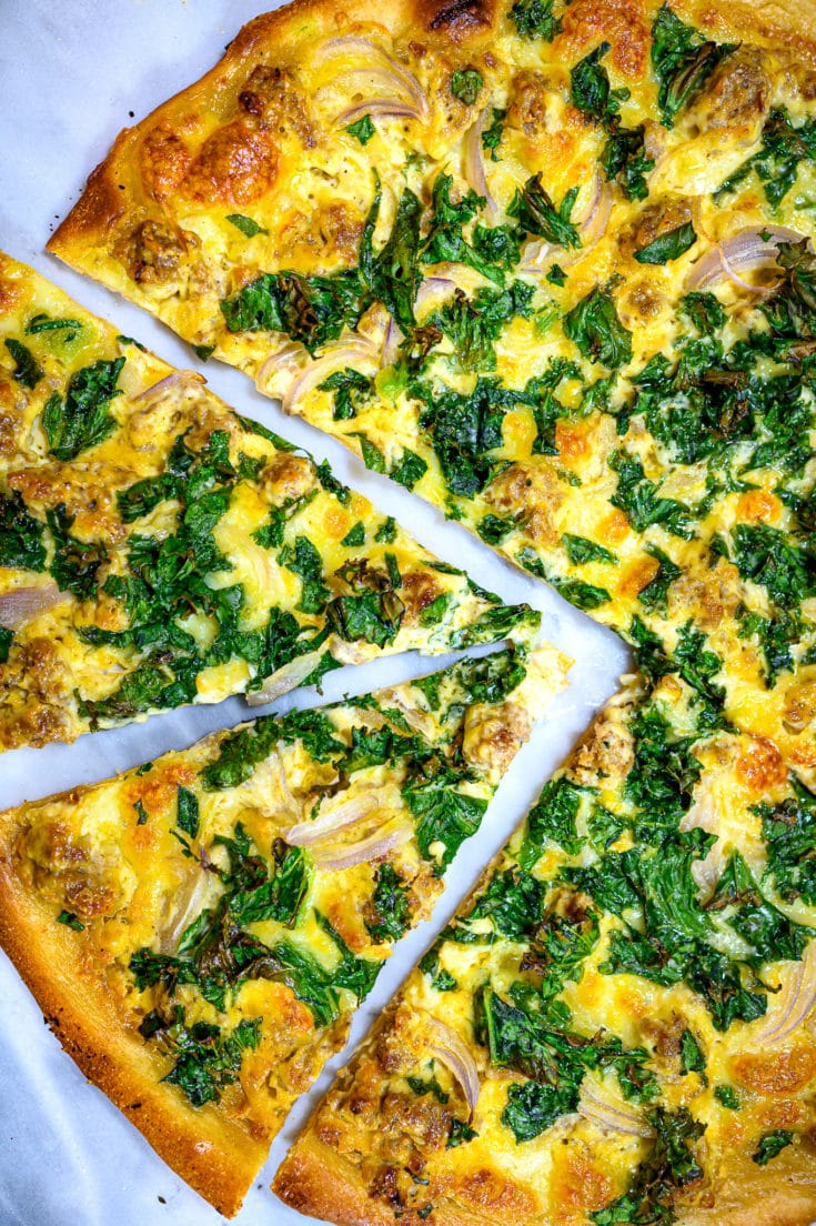 White Pizza with Sausage and Kale (Zuppa Toscana Pizza)