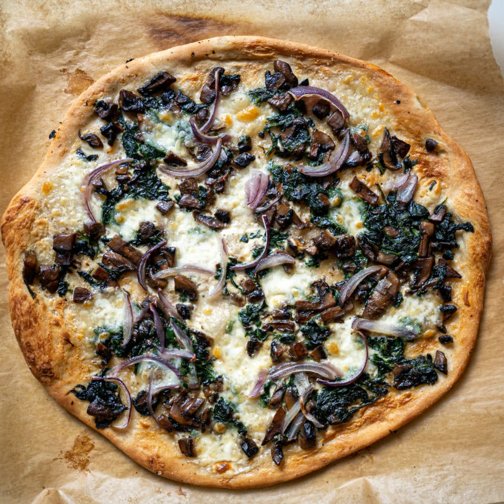Spinach and Mushroom Pizza with Mascarpone Cheese