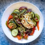 Roasted Vegetables Salad with Quinoa and Halloumi