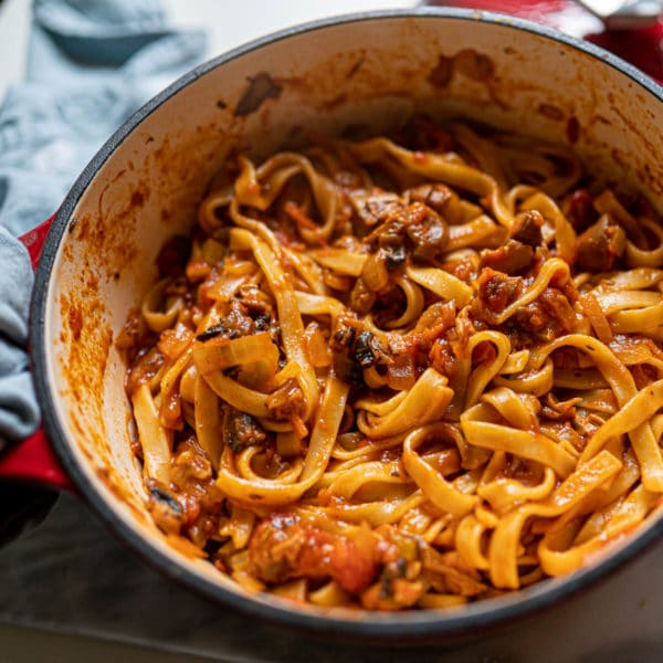 Vegan Tagliatelle Bolognese with Mushrooms
