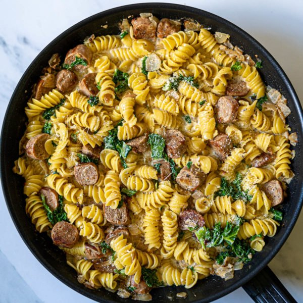 Vegan Sausage Pasta with Kale