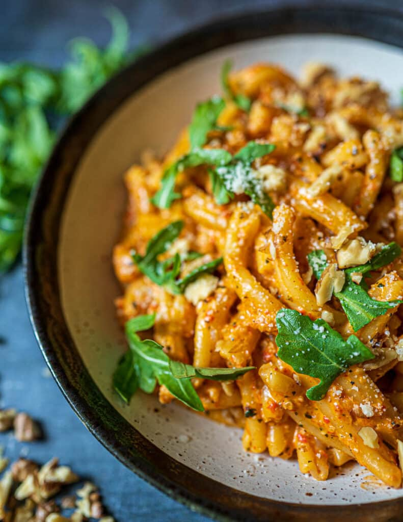 Creamy Roasted Red Pepper Pasta with Walnuts Up Close