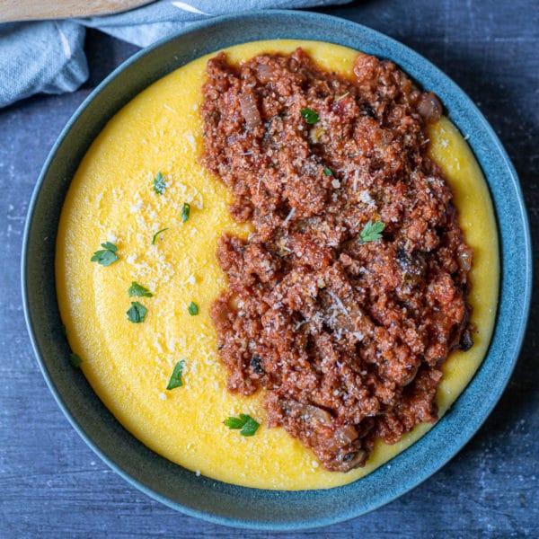 Creamy Vegan Polenta with Meatless Ragu