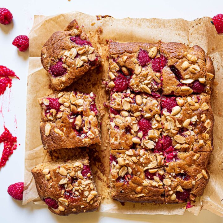 Peanut Butter and Jelly Blondies with Raspberries