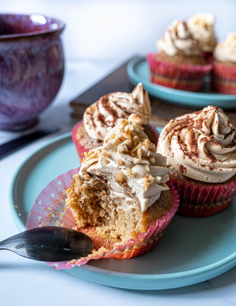tiramisu cupcake with one bite take