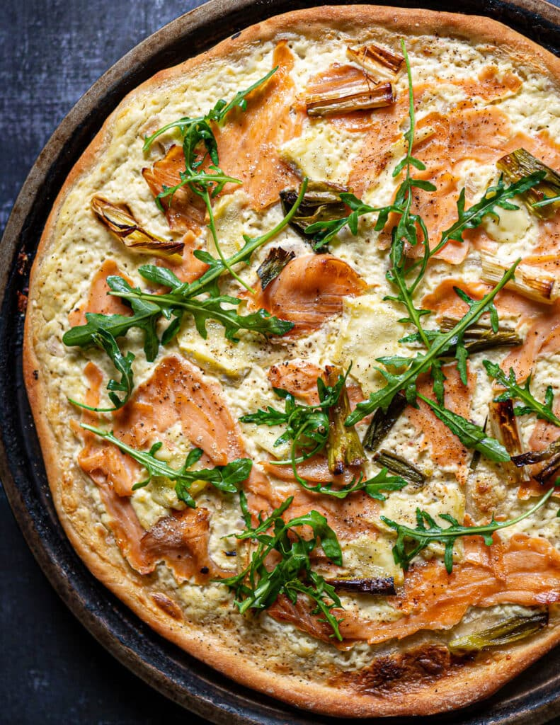Smoked Salmon Pizza with Brie and Arugula