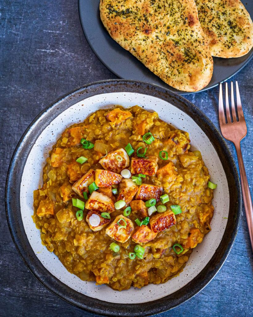 Mango Chutney Coated Halloumi Sweet Potato Dal in bowl