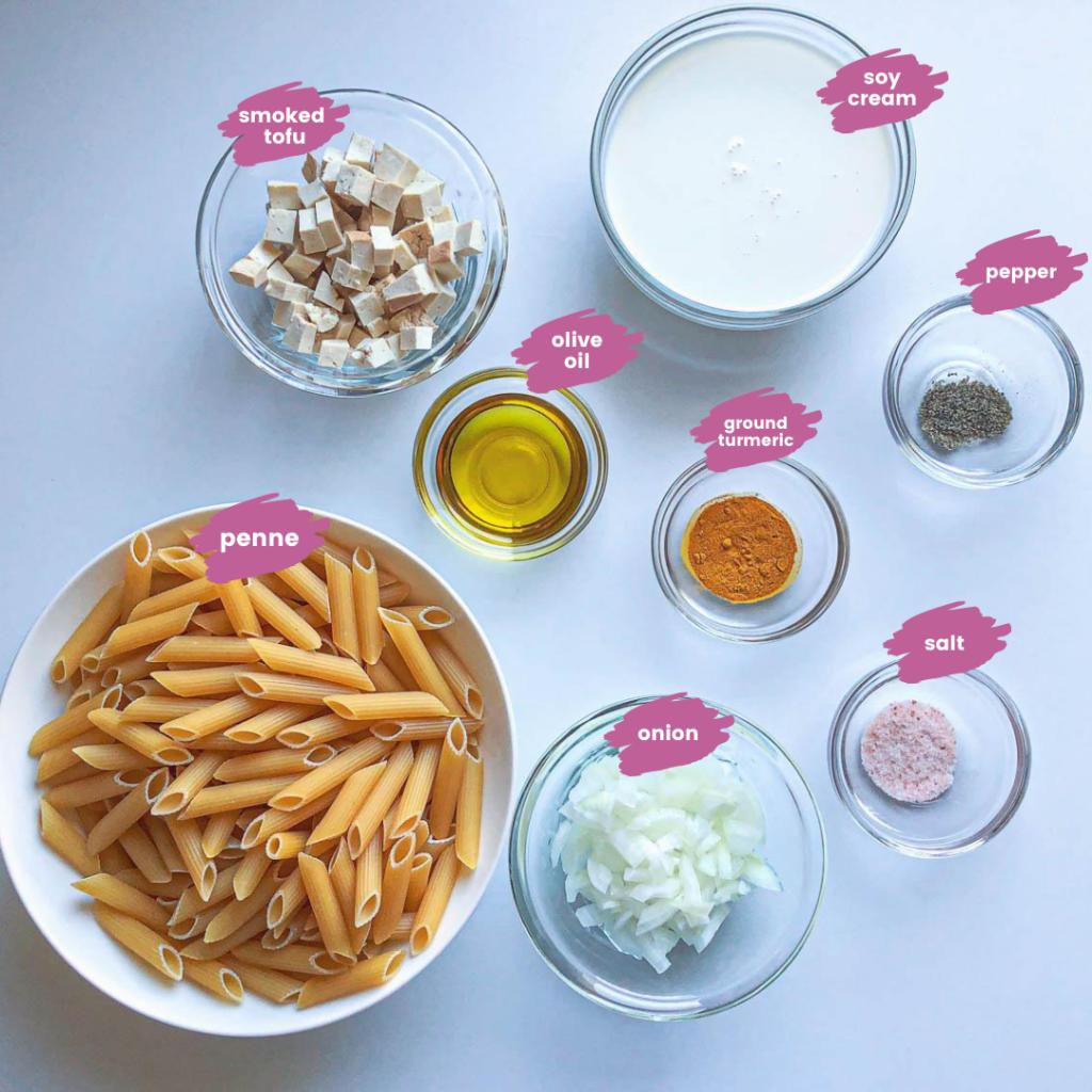Vegan Carbonara Smoked Tofu Ingredients on white background