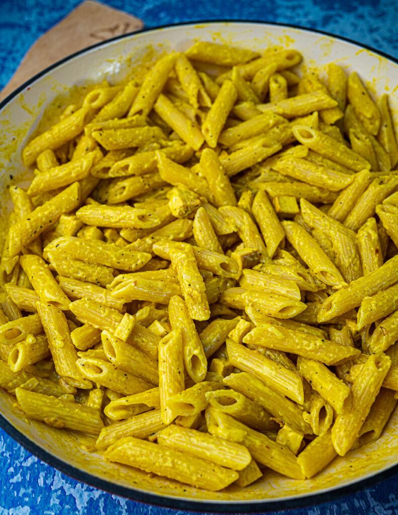 Vegan Pasta Carbonara With Smoked Tofu close up