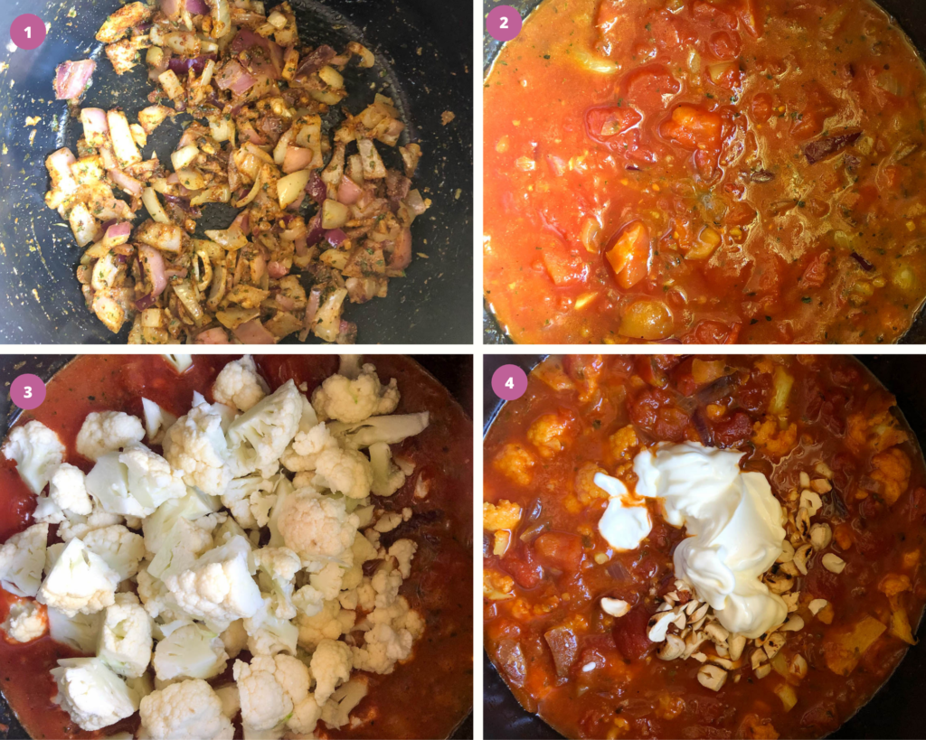 Step by step process for cauliflower curry in instant pot