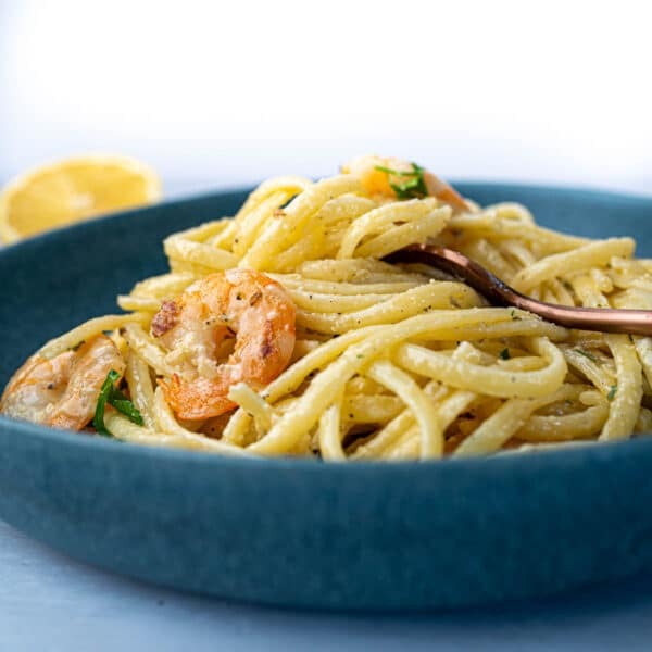 Creamy Prawn Linguine in bowl with fork