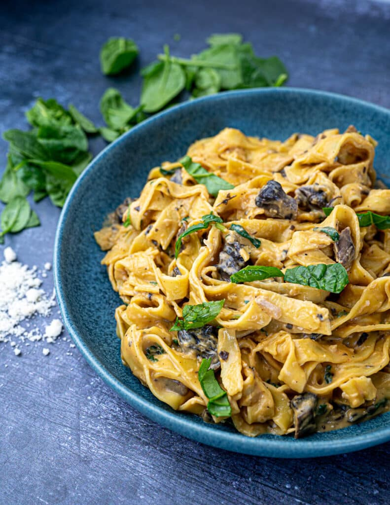 Sweet potato pasta sauce with tagliatelle in bowl with parmesan and spinach angled photo