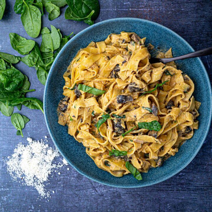 Sweet potato pasta sauce with tagliatelle in bowl with parmesan and spinach square photo