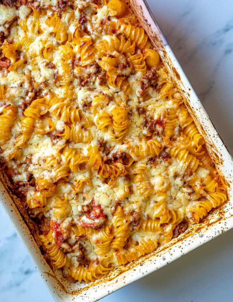 Bolognese pasta bake in oven dish