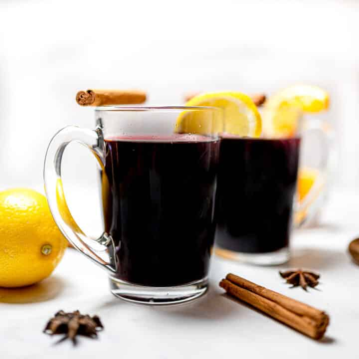 Vanilla Chai Spiced Mulled Wine in Glasses