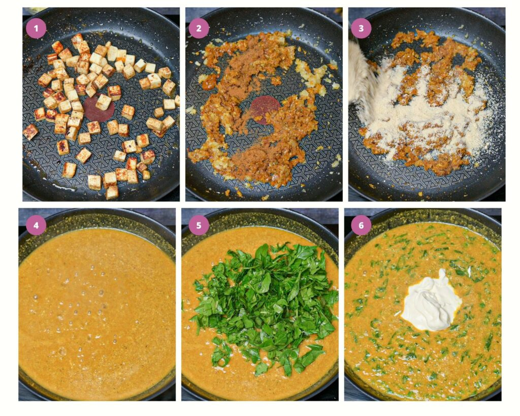 Step by step intructions to make paneer korma curry