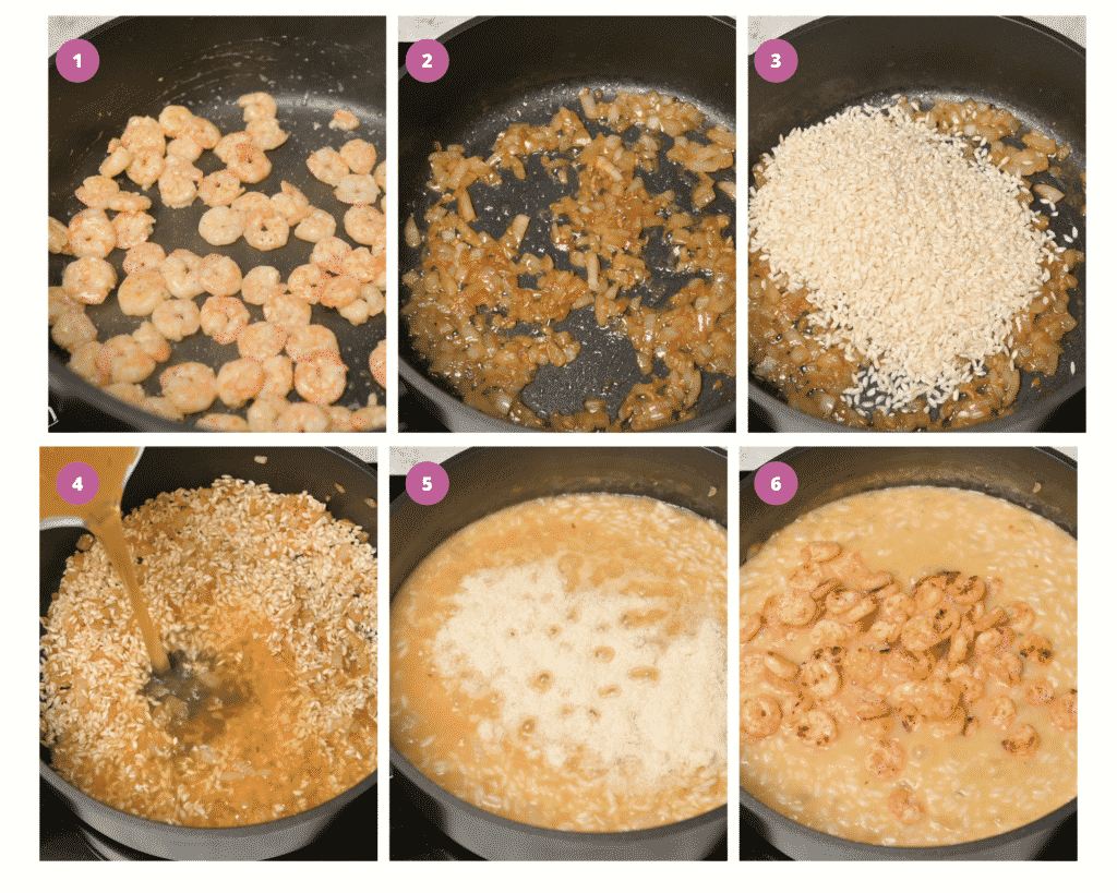 Step by step instructions on how to make prawn risotto