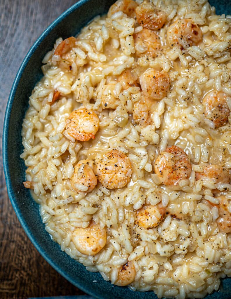 Close up photo of a plate of risotto with prawns