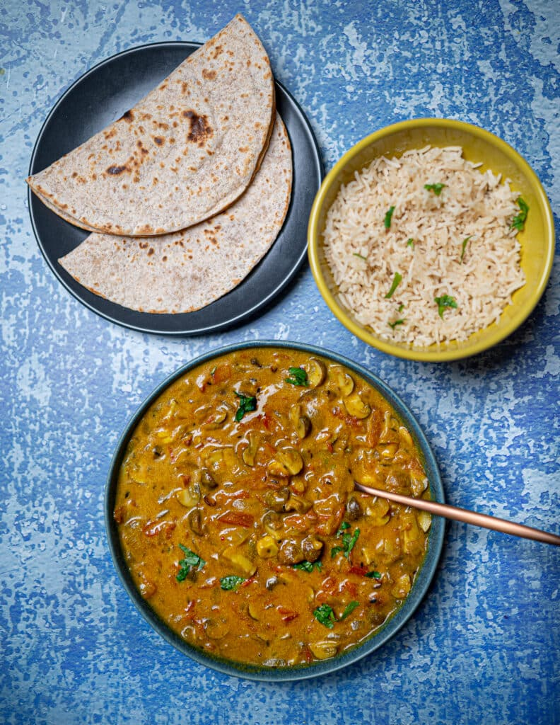 Mushroom Curry with Rice and Roti