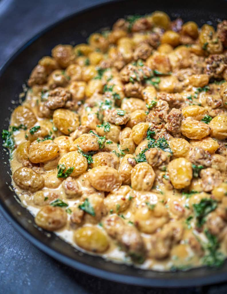 One Pot Fried Gnocchi with Sausage and Kale