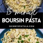 Pinterest image for boursin pasta with artichokes