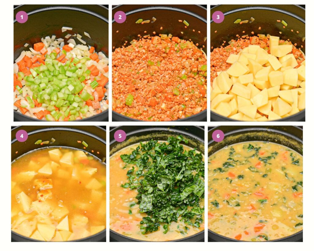 Step by step instructions on making red lentil soup with potatoes and kale