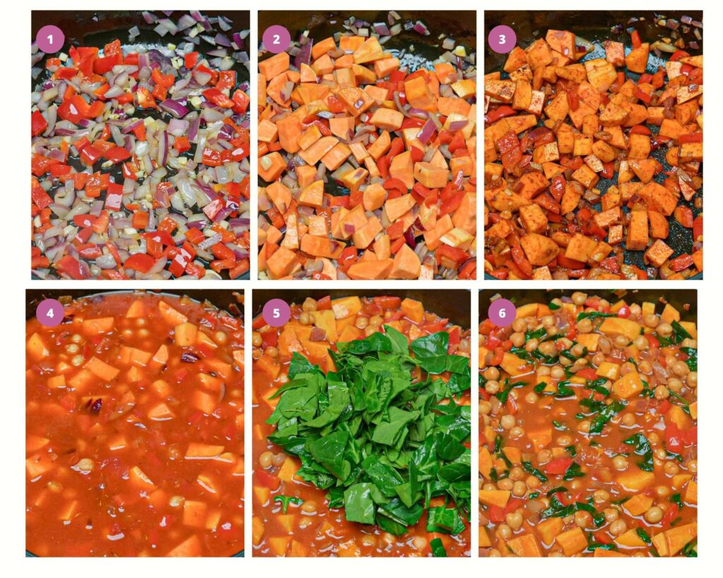 Grid of photos showing step by step instructions for Spanish chickpea stew
