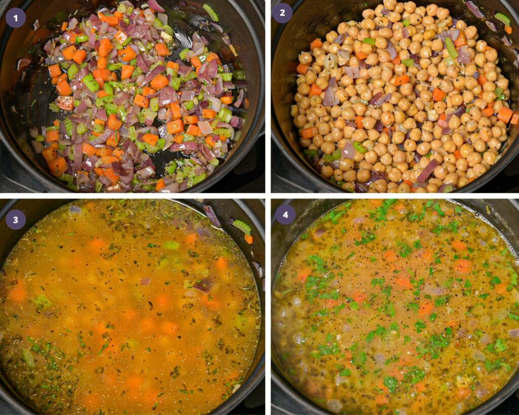 Step by step instructions on how to make chickpea soup