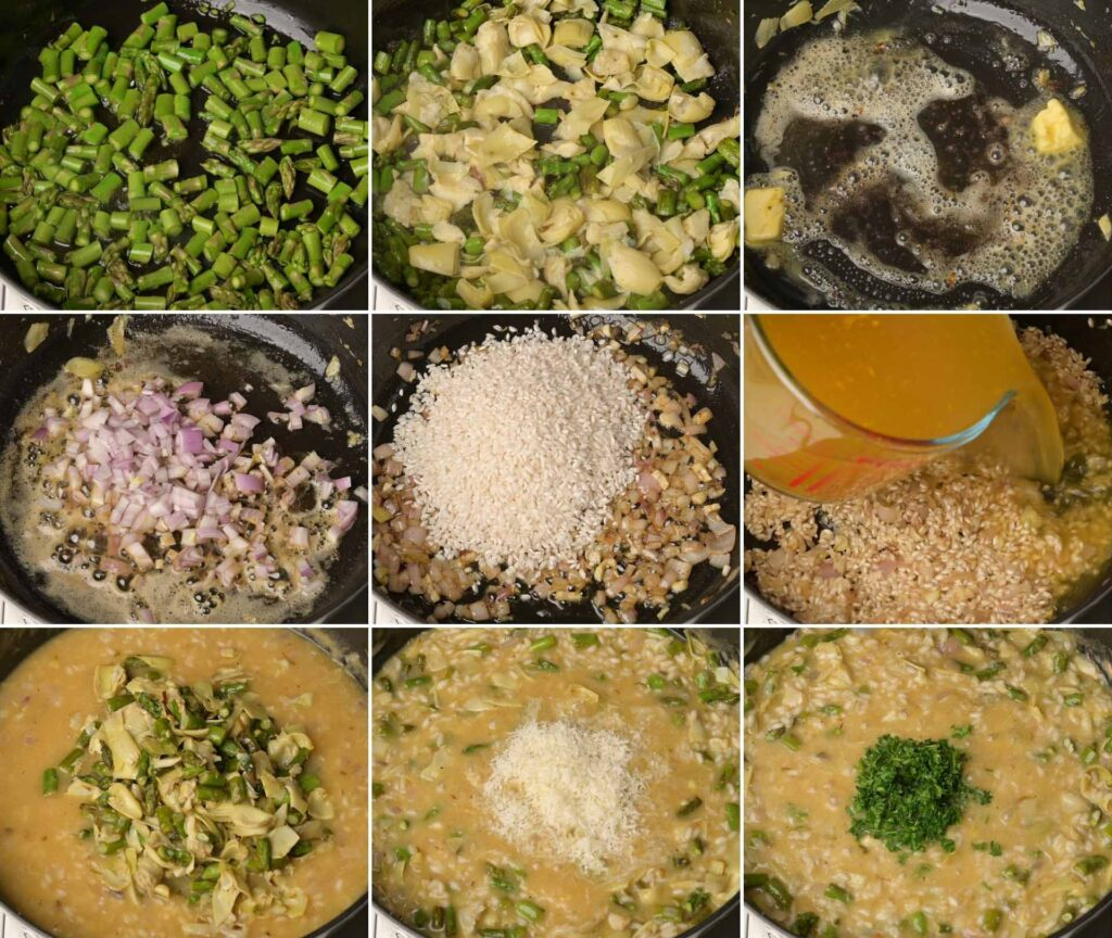 image of risotto cooking steps