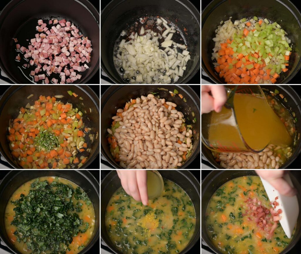 A photo of soup with beans and pancetta cooking steps