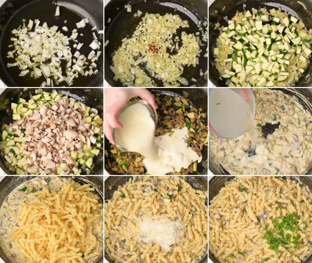 image of pasta cooking steps