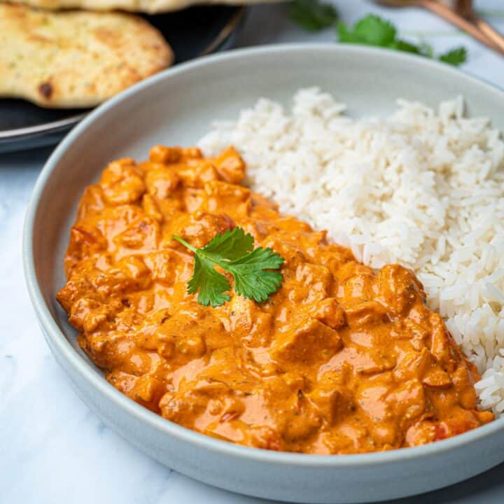 A close up photo of vegetarian halloumi curry