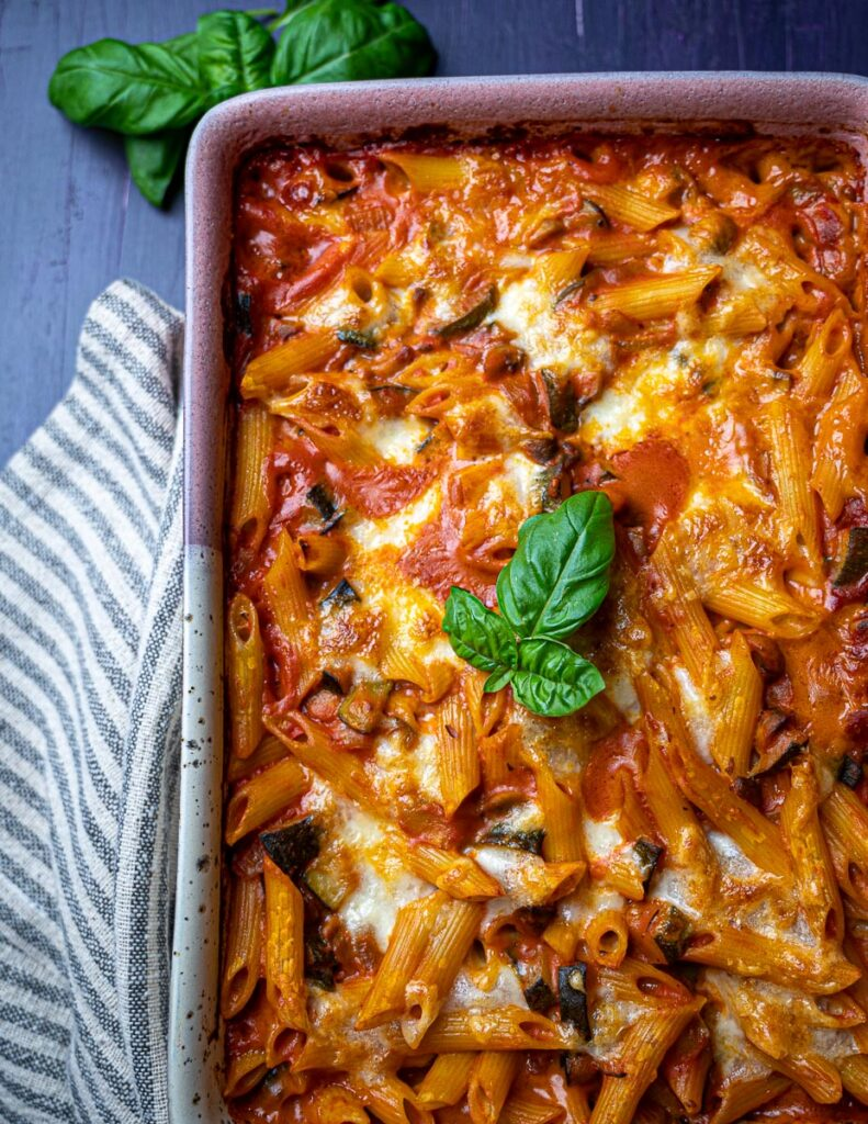 A photo of pasta al forno in an oven dish