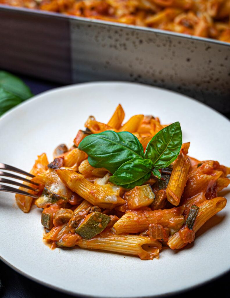 a plate of vegetarian pasta al forno