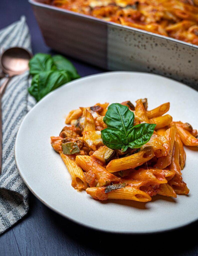 a plate of Italian food