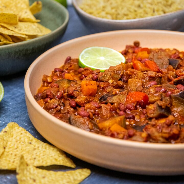 a plate of aubergine and lentil chilli