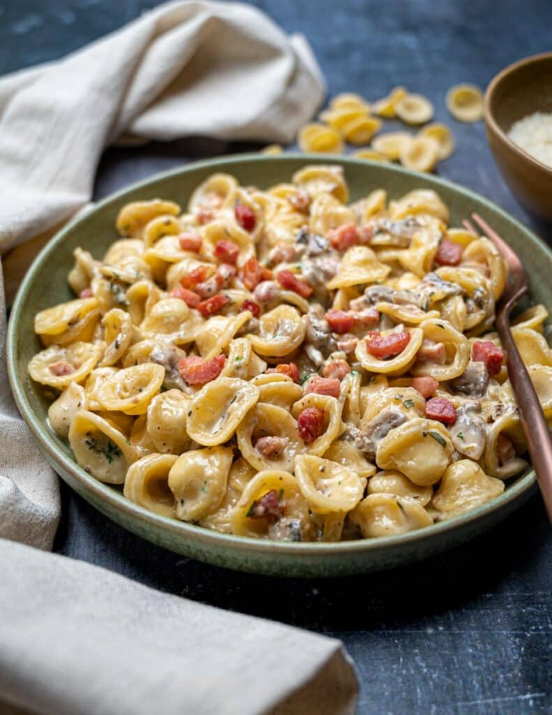 photo of a pasta recipe with bacon and mushroom