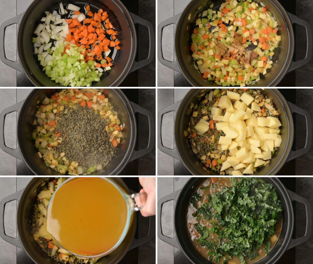 A photo of cooking steps for lentil soup