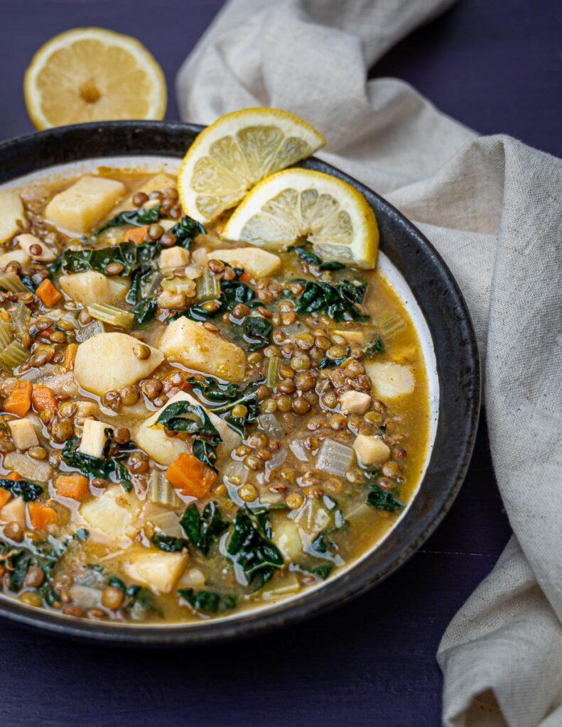 A photo of a bowl of vegan soup