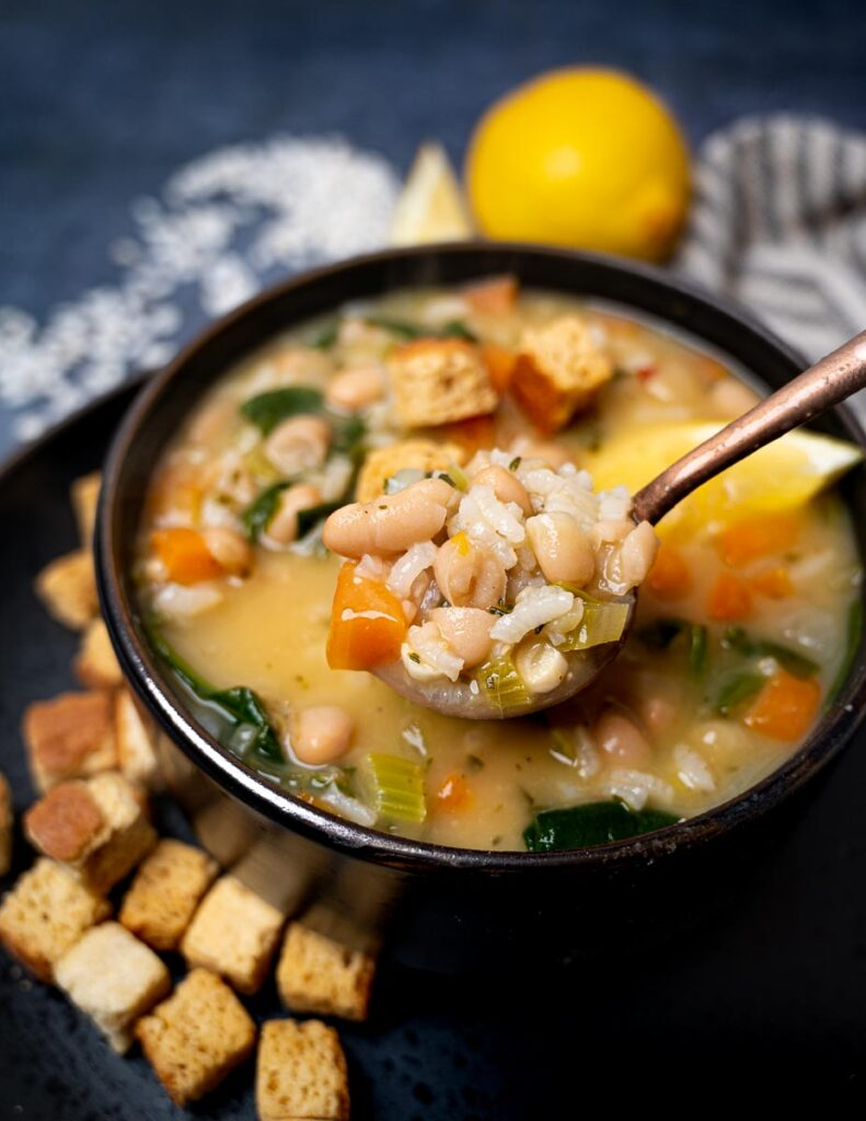 A close-up photo of lemon rice soup
