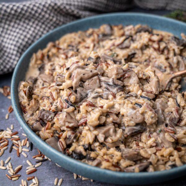 A plate of mushroom wild rice pilaf