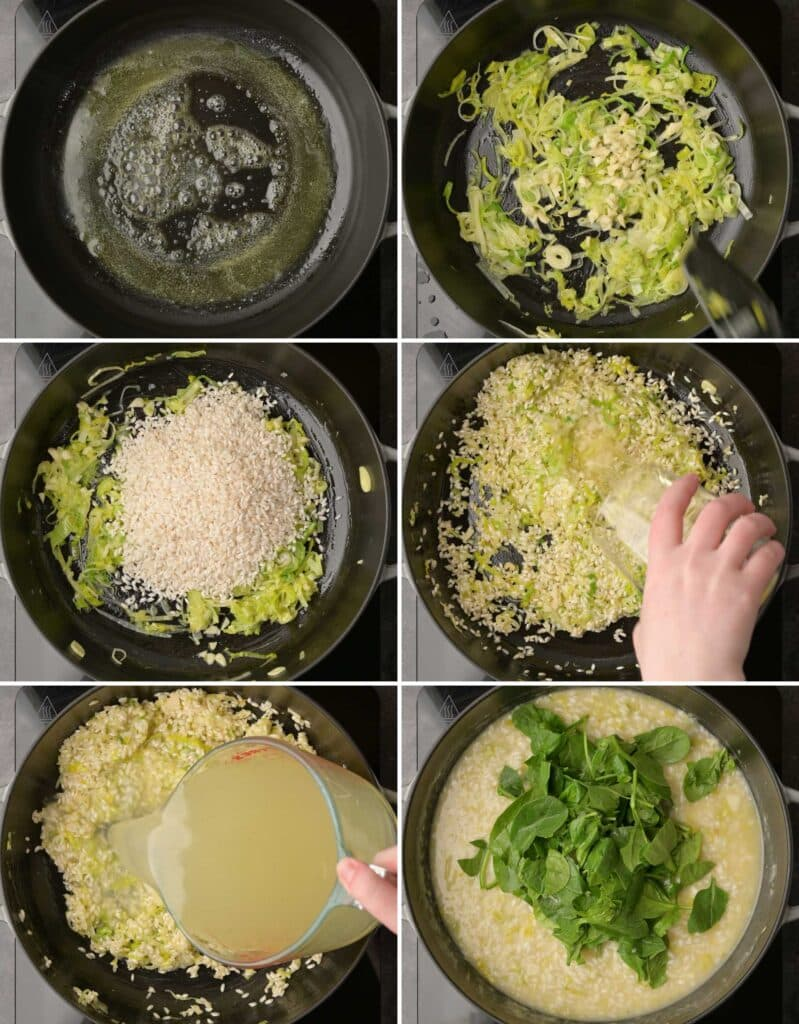 image of risotto making step by step