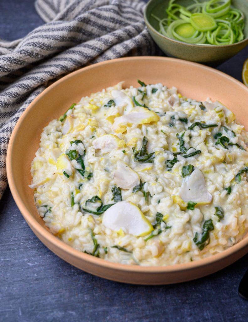 a plate of smoked haddock risotto
