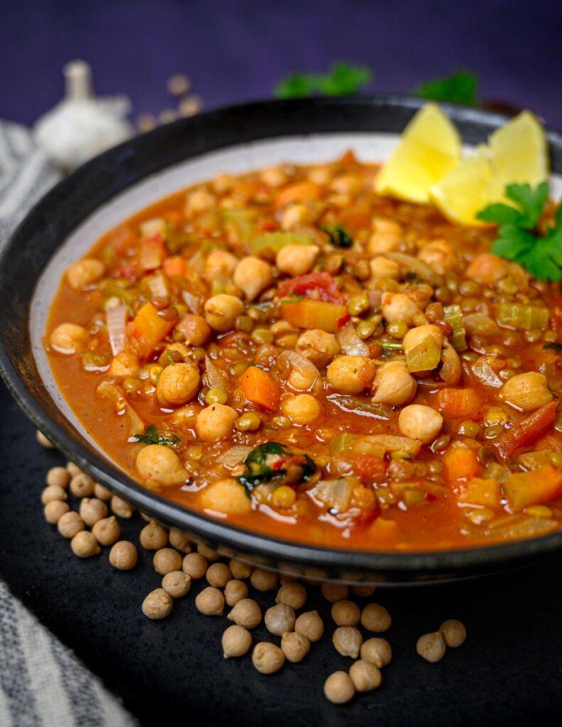 close up image of lentil soup