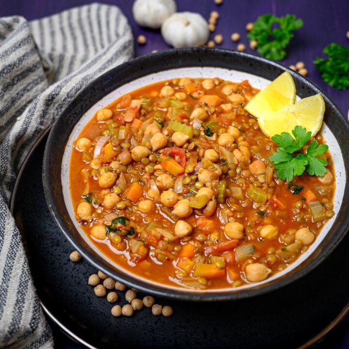 a plate of vegan harira